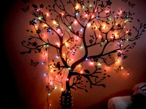 bedroom lights tree wall image 270348 on favim