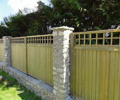 Fence Panels Stone Brick Pillars Wall Trellis