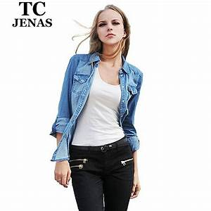 [TC Jeans] 2014 women clothing nostalgic vintage water wash gradient women long sleeve denim ...