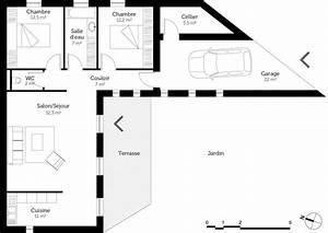 plan maison plain pied avec 2 chambres ooreka With plan de maison plain pied 2 chambres
