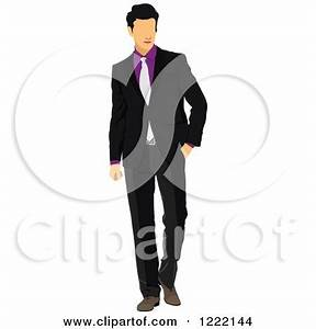 Clipart of a Businessman in a Suit and Tie - Royalty Free ...