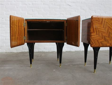 Italian Nightstands Ico Parisi In Rosewood And Glass Top