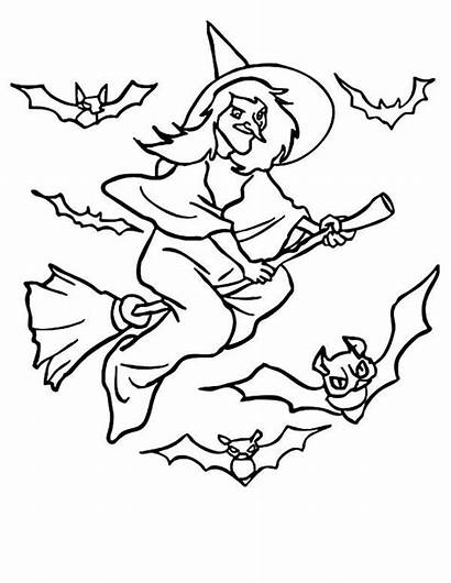 Witch Coloring Pages Flying Bats Halloween Printable