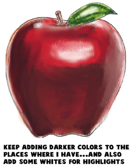 draw realistic  cartoon apples  easy step