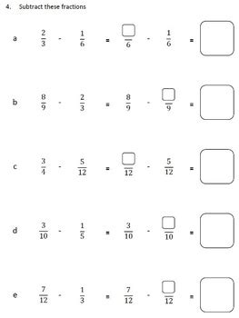 5th grade math worksheet subtracting fractions fractions worksheets 4th grade 5th grade subtracting