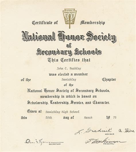 Download National Honor Society Certificate Template
