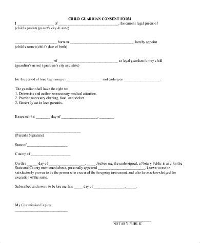 sample legal guardian forms  documents word