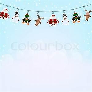 Girlande Weihnachten Beleuchtet : weihnachten blauer hintergrund mit einer girlande von papier rentieren pinguin und santa claus ~ Frokenaadalensverden.com Haus und Dekorationen