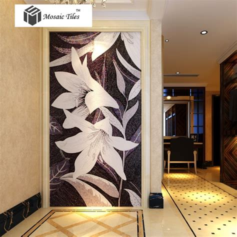 tst mosaic mural black white lily beautiful flower