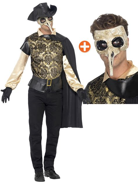 Mens Plague Doctor Costume + Mask Venetian Masquerade Halloween Fancy Dress | eBay
