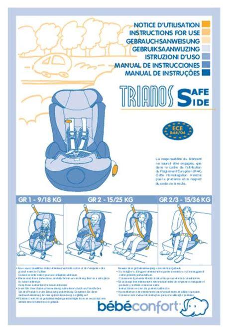siège bébé auto mode d 39 emploi bebe confort trianos safeside siège auto
