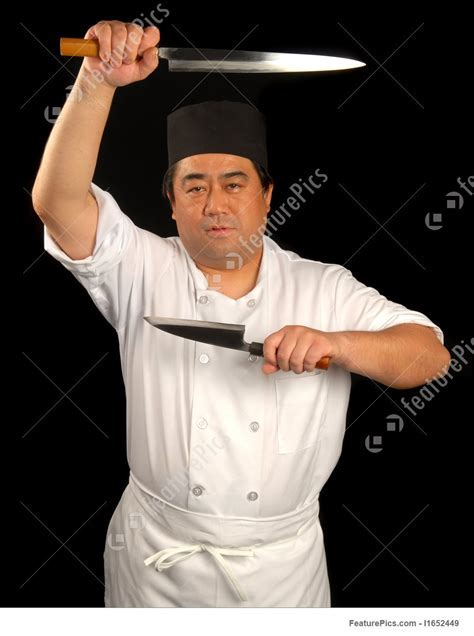 Japanese Sushi Chef With His Knives Stock Picture I1652449