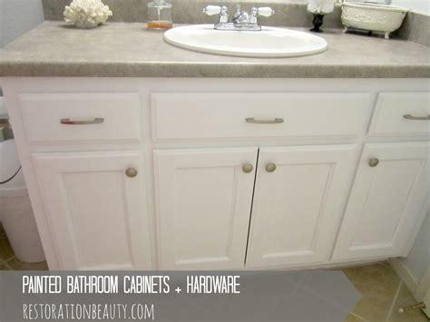 Painted Bathroom Cabinets + Hardware