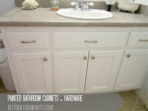 painted bathroom cabinets With how to paint bathroom cabinets white