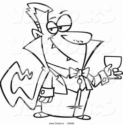 Blood Vampire Coloring Dracula Drinking Cartoon Halloween