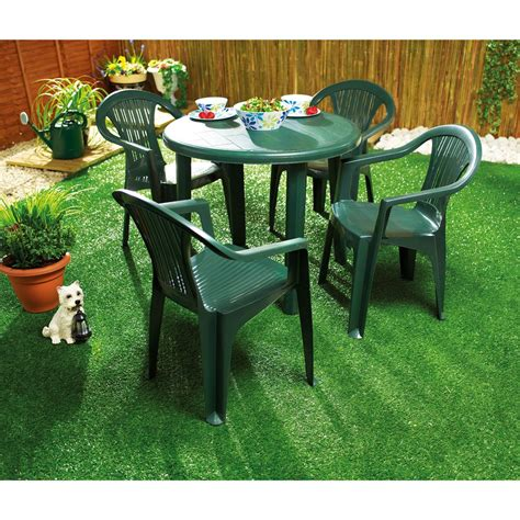 green resin patio table and chairs green plastic garden table for home use backyard