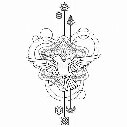 Colibri Symbol Geometric Coloring Elements Tattoo Abstract