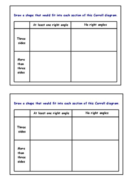 carroll diagram sorting shapes worksheet image collections