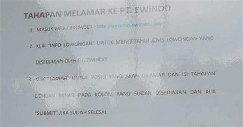 Nikmati kemudahan dalam mencari lowongan pekerjaan dengan aplikasi loker sumedang. Lowongan kerja PT Ewindo Pabrik Rancaekek Bandung 2020 - LOKERHARIINI.COM