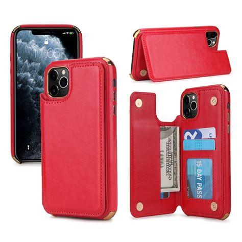 2 in 1 wallet case is equipped with 3 card slots, which can contain your. For iPhone 11 Pro Max POLA TPU + PC Plating Full Coverage Protective Case with Holder & Card ...