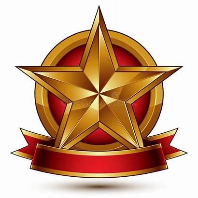 Pentagonale Gouden Gestileerde Glanzende Ster Symbool Gemerkt