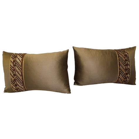 Pair Of Brown Embroidery Miao Lumbar Pillows From A
