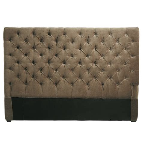 pouf pour chambre d ado tête de lit capitonnée vintage en velours taupe l 160 cm