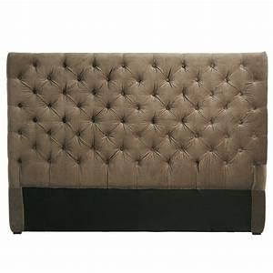 Tete Lit Capitonnée : t te de lit capitonn e vintage en velours taupe l 160 cm ~ Premium-room.com Idées de Décoration