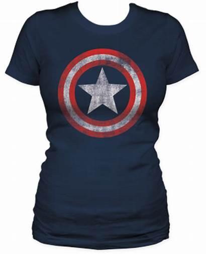 America Captain Distressed Shirt Juniors Shield Navy