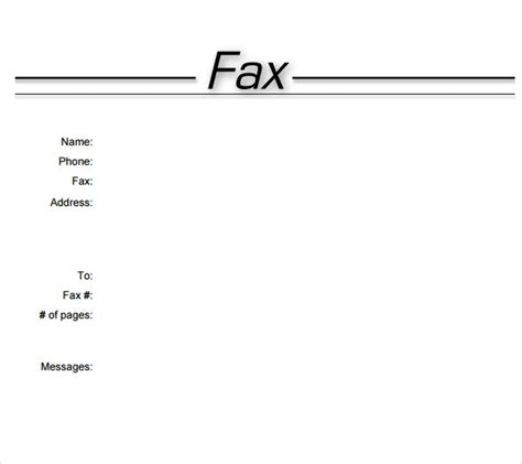 printable fax cover sheet   samples examples