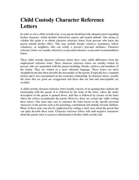 character reference  family court template letter