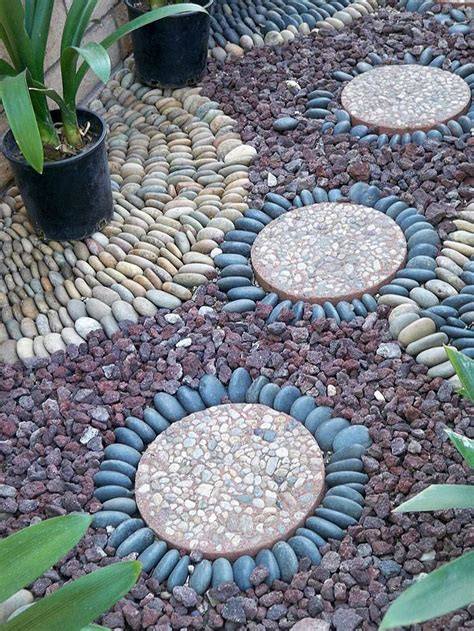 garden pathway pebble mosaic ideas corner