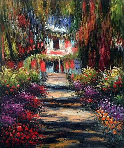 wall art monet garden path  giverny painting