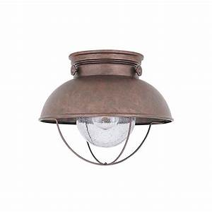 Ceiling mount outdoor led lights : Led sebring nautical outdoor ceiling mount in copper
