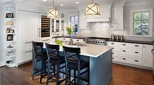 white painted kitchen with blue island traditional With kitchen colors with white cabinets with chicago skyline wall art