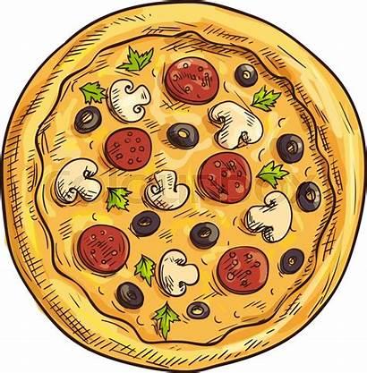 Pizza Italian Sketch Vector Pizzeria Box Crust