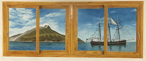 chambre merisier trompe l 39 œil fenêtre de cabine de bateau pour se
