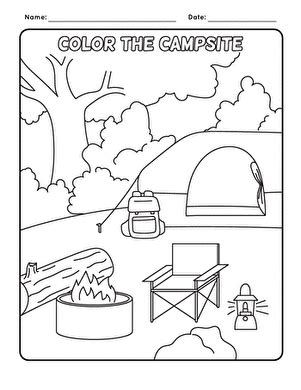 camping worksheet education 673 | camping coloring page places nature
