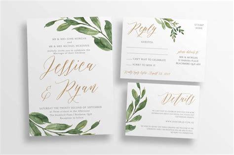 greenery wedding invitation suite diy editable wedding