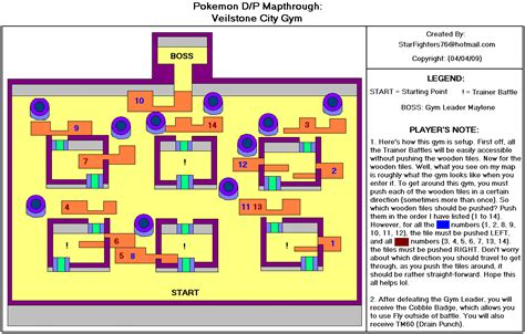 Pokemon Pearl Version Veilstone City Gym Map For Ds By