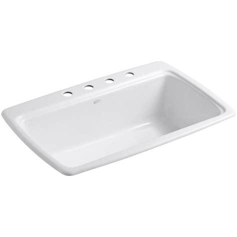 white single bowl drop in kitchen sink kohler cape dory drop in cast iron 33 in 4 single 2220