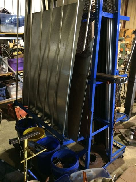 vertical metal storage rack showing sheet metal storage