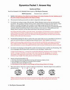 Newtons Second Law Worksheet Answer Key The Physics
