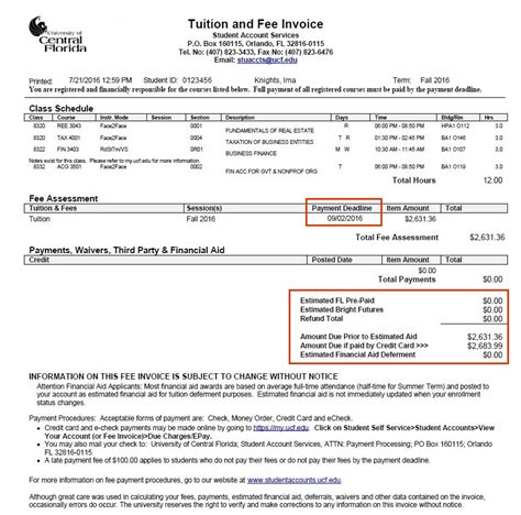 fee invoice student account services