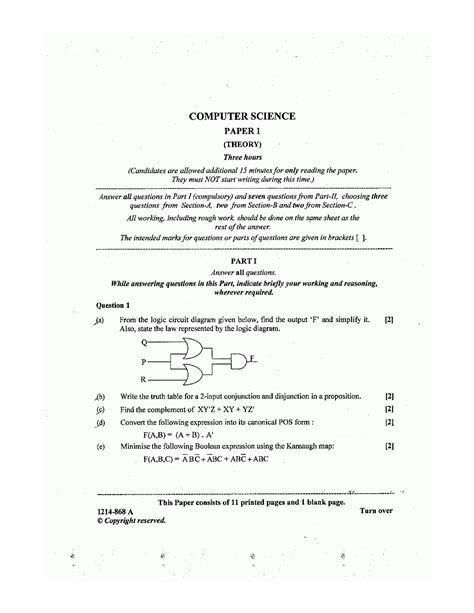 ISC 2014 : Computer Science (Theory) Class XII Board