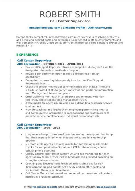 call center supervisor resume samples qwikresume