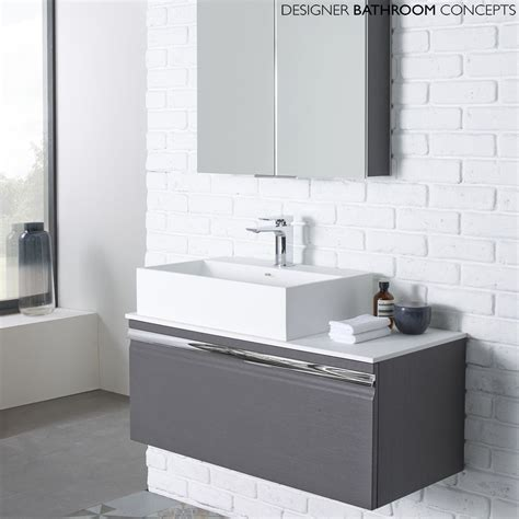 the pursuit designer charcoal elm 900mm bathroom vanity