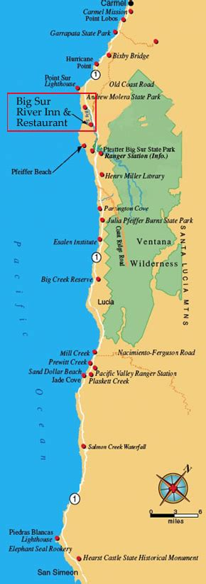 big sur lodging map dirctions big sur river inn