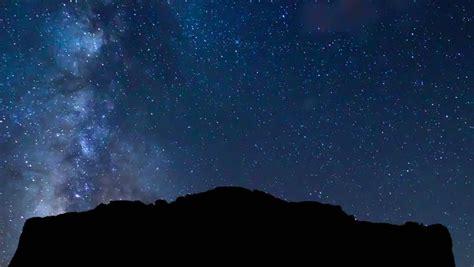 Night Sky Stars Milky Way On Mountains Background Stock