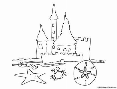 Coloring Castle Sand Pages Beach Simple Clipart